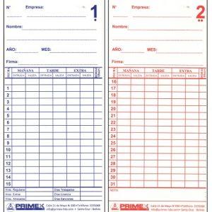 Tarjetas de Cartulina para Control de Asistencia